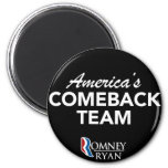 Romney Ryan America's Comeback Team Round (Black) Fridge Magnet