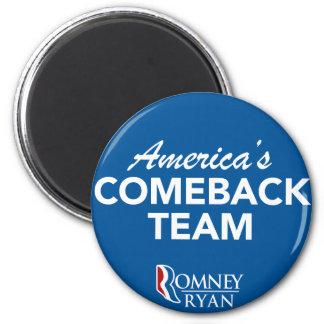 Romney Ryan America's Comeback Team Round (Blue) 2 Inch Round Magnet