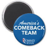 Romney Ryan America's Comeback Team Round (Blue) Fridge Magnets