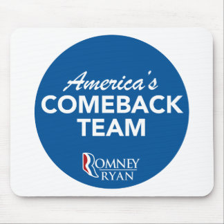 Romney Ryan America's Comeback Team Round (Blue) Mouse Pads