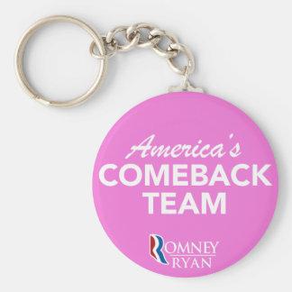 Romney Ryan America's Comeback Team Round (Pink) Basic Round Button Keychain