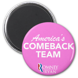 Romney Ryan America's Comeback Team Round (Pink) Refrigerator Magnets
