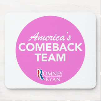Romney Ryan America's Comeback Team Round (Pink) Mouse Pad