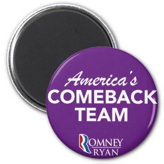 Romney Ryan America's Comeback Team Round (Purple) 2 Inch Round Magnet