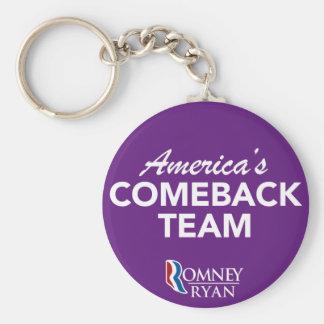 Romney Ryan America's Comeback Team Round (Purple) Keychain