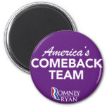 Romney Ryan America's Comeback Team Round (Purple) Fridge Magnets