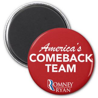 Romney Ryan America's Comeback Team Round (Red) 2 Inch Round Magnet
