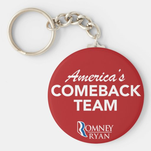 Romney Ryan America's Comeback Team Round (Red) Key Chains