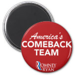 Romney Ryan America's Comeback Team Round (Red) Fridge Magnets