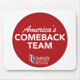 Romney Ryan America's Comeback Team Round (Red) Mouse Pad