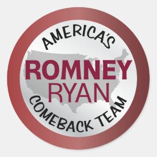 Romney Ryan America's Comeback Team Classic Round Sticker