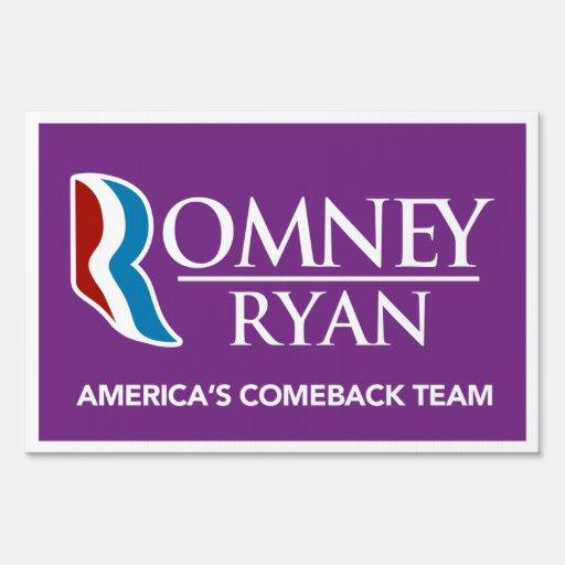 Romney Ryan America's Comeback Team Yard Sign