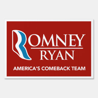 Romney Ryan America's Comeback Team Yard Sign Red