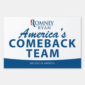 Romney & Ryan America's Comeback Team Yard Sign