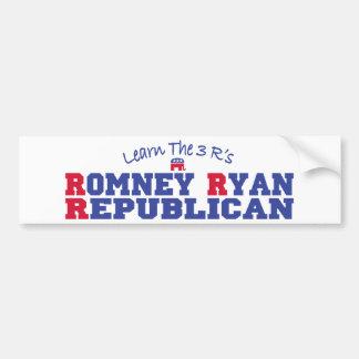 Romney Ryan aprende los 3 r Pegatina De Parachoque