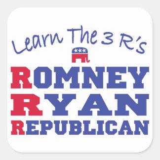 Romney Ryan aprende los 3 r Calcomanías Cuadradases