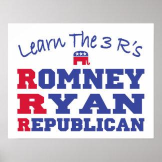 Romney Ryan aprende los 3 r Posters