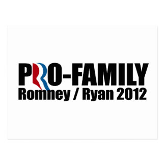 ROMNEY RYAN ARE PRO-FAMILY png Post Cards