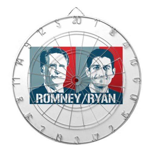 ROMNEY RYAN ART DARTBOARD WITH DARTS