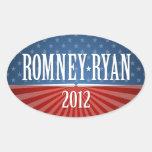 Romney Ryan - barras y estrellas Pegatinas Ovaladas