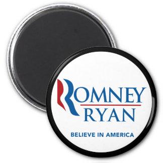 Romney Ryan Believe In America Black Border 2 Inch Round Magnet