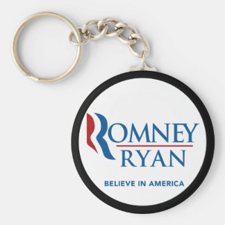 Romney Ryan Believe In America Black Border Basic Round Button Keychain