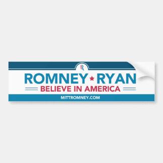 Romney Ryan Believe IN America Bumper Sticker Car Bumper Sticker