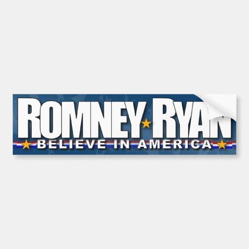 Romney - Ryan - Believe in America Car Bumper Sticker