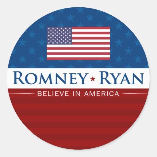 Romney & Ryan Believe in America Classic Round Sticker
