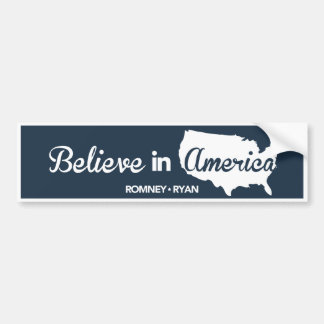 Romney Ryan Believe In America Dark Blue Bumper Bumper Sticker