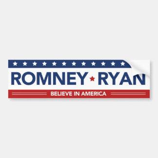 Romney Ryan Believe In America Flag Bumper Sticker Car Bumper Sticker