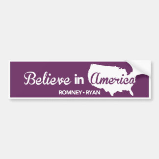 Romney Ryan Believe In America Purple Bumper Bumper Sticker