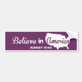 Romney Ryan Believe In America Purple Bumper Bumper Sticker