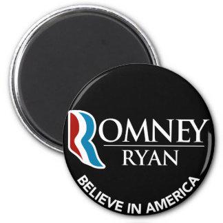 Romney Ryan Believe In America Round Black 2 Inch Round Magnet