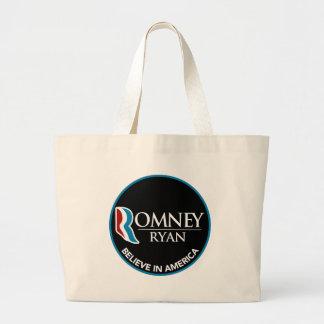 Romney Ryan Believe In America Round Black Canvas Bags