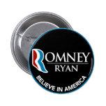 Romney Ryan Believe In America Round Black Button