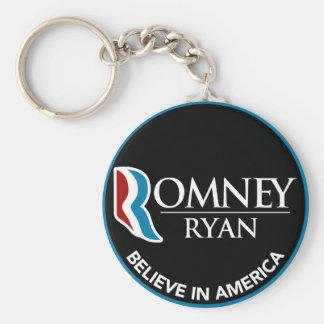 Romney Ryan Believe In America Round Black Keychain