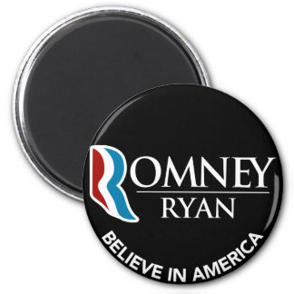 Romney Ryan Believe In America Round Black Magnet