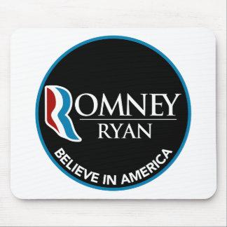 Romney Ryan Believe In America Round Black Mousepads