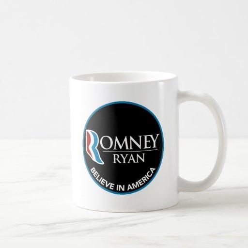 Romney Ryan Believe In America Round Black Mugs