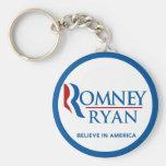 Romney Ryan Believe In America Round Blue Border Basic Round Button Keychain