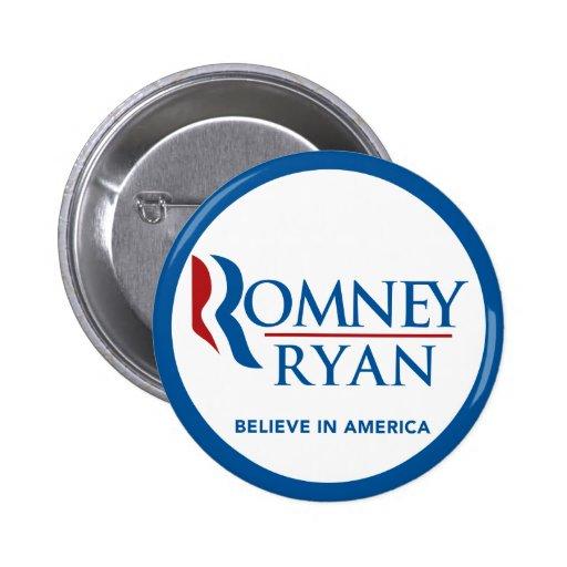 Romney Ryan Believe In America Round Blue Border Pinback Button