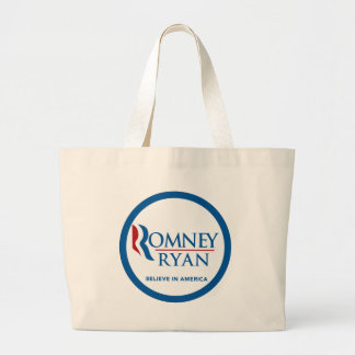Romney Ryan Believe In America Round Blue Border Large Tote Bag