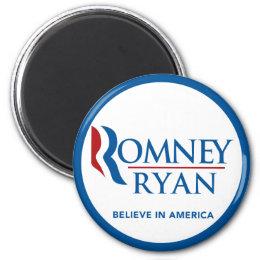 Romney Ryan Believe In America Round Blue Border Magnet