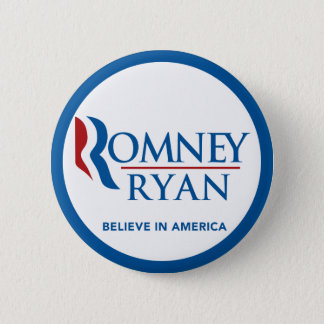 Romney Ryan Believe In America Round Blue Border Pinback Button