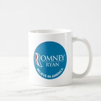 Romney Ryan Believe In America Round Blue Coffee Mug