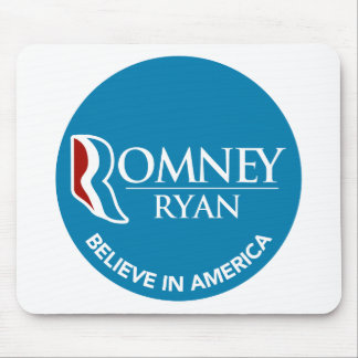 Romney Ryan Believe In America Round Blue Mouse Pad