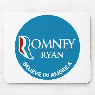 Romney Ryan Believe In America Round Blue Mousepad
