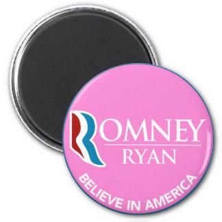 Romney Ryan Believe In America Round Pink 2 Inch Round Magnet