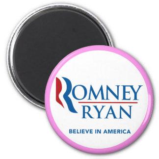 Romney Ryan Believe In America Round (Pink Border) 2 Inch Round Magnet